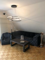 Graue Polster Garnitur 1 Sofa