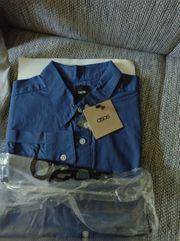 Herrenhemd langärmliges Oxford marinenblau Hemd