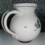 Steingutkrug Henkelkrug Handmalerei Blumen Vase