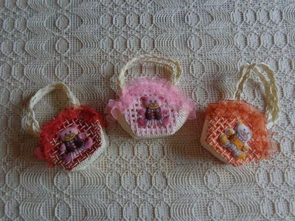 Basttasche Korbtasche klein 3 Stück