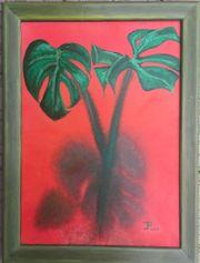 Ölgemälde Zimmerpflanze starke Farben Gemälde