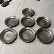 Setzkasten-Miniatur Zinn 6 x Suppenteller