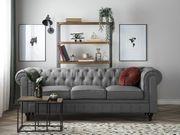 3er Sofa Polsterbezug hellgrau CHESTERFIELD