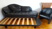 Sofa schwarz mit 2 Sesseln