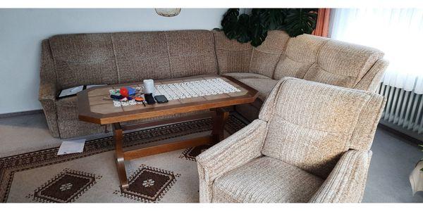 Sofa Rundecke Couch mit Fernsehsessel