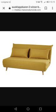 2-Sitzer Couch ausklappbares Sofa senfgelb