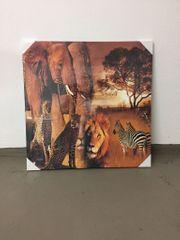 2 Leinwände Afrika Tiere und