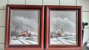 2 Gemälde thema Winterlandschaft maler