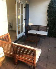 Lounge Gartenmöbel Holz weiße Polster