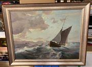 Gemälde Nordseemotiv - Segelboot Fischfang