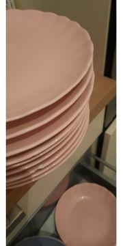 Poltergeschirr weiss und rosa