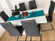 6x Stühle Kunstleder grau Schwingstühle