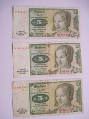 3 x 5 DM Geldscheine