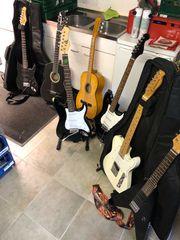 7 verschiedene Elektronik und Konzertgitarren