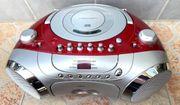 Casetten-CD-Radio rot-silber