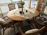 Rattan Kombination Tisch mit sechs