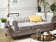 3-Sitzer Sofa Polsterbezug hellgrau CHESTERFIELD neu