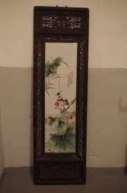 Porzellan Kunst Malerei Bild Holz