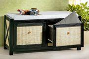 Sitzbank antik schwarz helles Rattan