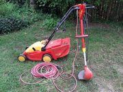 Rasenmäher mit Rasenkantenschneider beide elektrisch