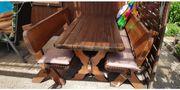 Massivholz Sitzgarnitur 1 Tisch 2