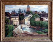 Antik-Gemälde HUBERT GONDORF 1881 Eifeldorf