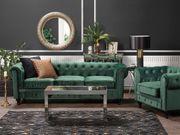 Sofa Set Samtstoff grün 4-Sitzer
