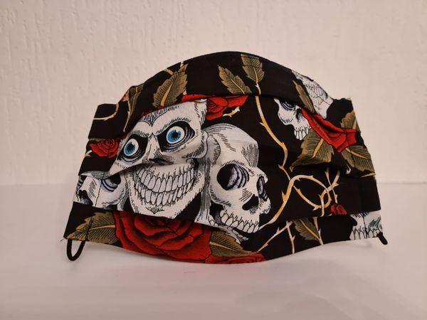 Gesichtsmaske - Behelfsmaske - Halloween - Totenkopf - Rosen