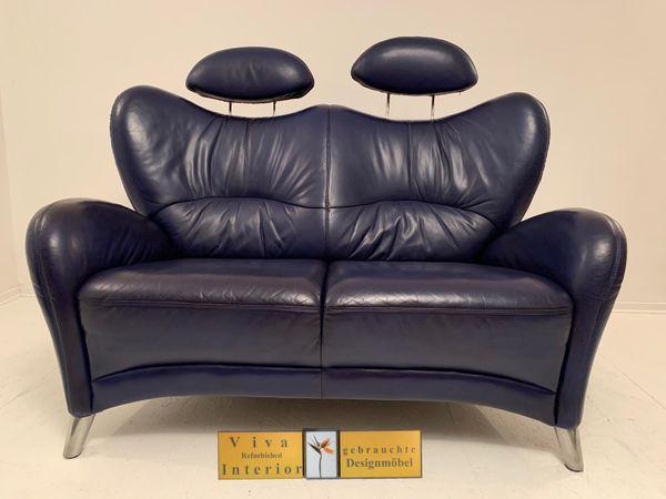 HIMOLLA Design Sofa Leder blau