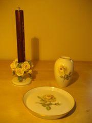 Porzellanvase und -teller Ludwigsburg Kerzenhalter