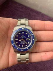 Rolex Uhr Silber blau Submariner
