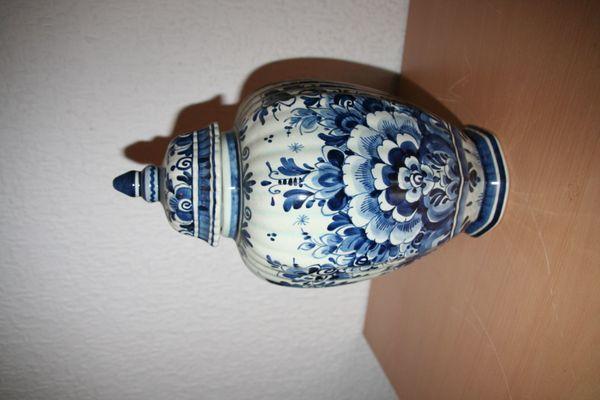 Deckelvase Delfter Blau