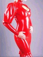 Sexy rotes Latex Kleid Gummi