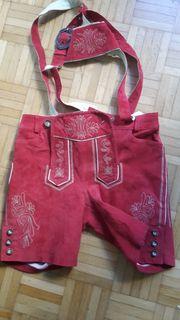 rote Mädchen Damen-Trachten-Lederhose Gr34 orig