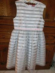 Festliches Kleid Mädchen 146 silber-weiß
