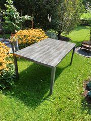 Gartentisch mit Glasplatte holzoptik