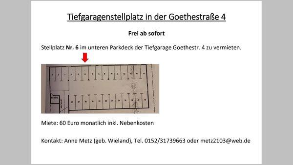 Tiefgaragen-Stellplatz Goethestr 4 in 69514