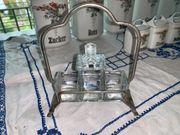 Gewürzständer mit Glaseinsätzen antik