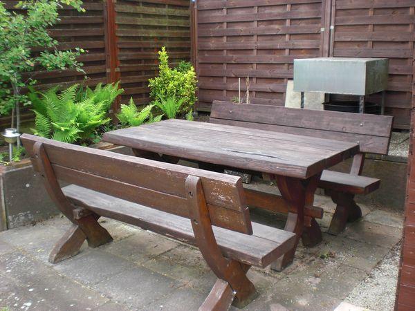Massive Gartengarnitur-Holzgarnitur-Gartenmöbel-Sitzgruppe-Lärche-Langlebig-Robust