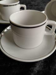 Espresso-Tassen weiß mit Silberrand