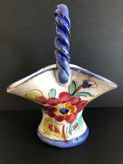 Henkelkörbchen Keramik geflochtener Henkel 60er