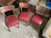 3 Stühle Holzstuhl Braun Weinrot