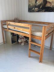 Kinder-Hochbett mit Rutsche Massivholz
