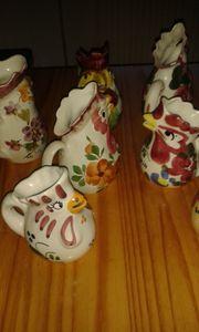 Hühner - Hahn -Keramik - Weinkrüge