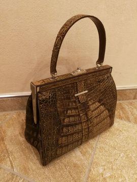 Taschen, Koffer, Accessoires - Alte hübsche braune Damenhandtasche