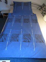 Feinbiber Bettwäsche Komfortgröße 155x220 blau