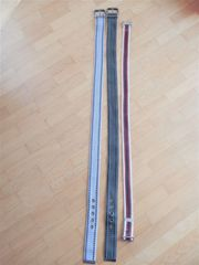 3x Stoffgürtel - grau khaki rot-gestreift