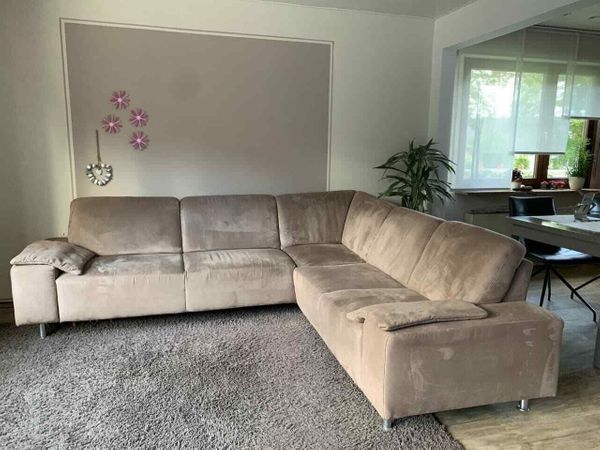 Gut erhaltenes Sofa, Ecksofa 272cm x 242cm, braun, Microfaser