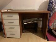 Schreibtisch dunkelbraun mit vier Schubladen