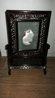 altes chinesisches Bild Seidenstickerei Katze